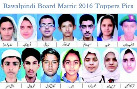 Matric Top Position Holder in BISE Rawalpindi 2016