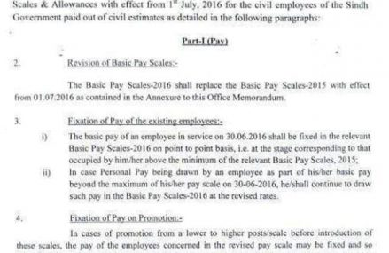 Sindh Govt Notification of Pay Scales Revision and allowances 2016