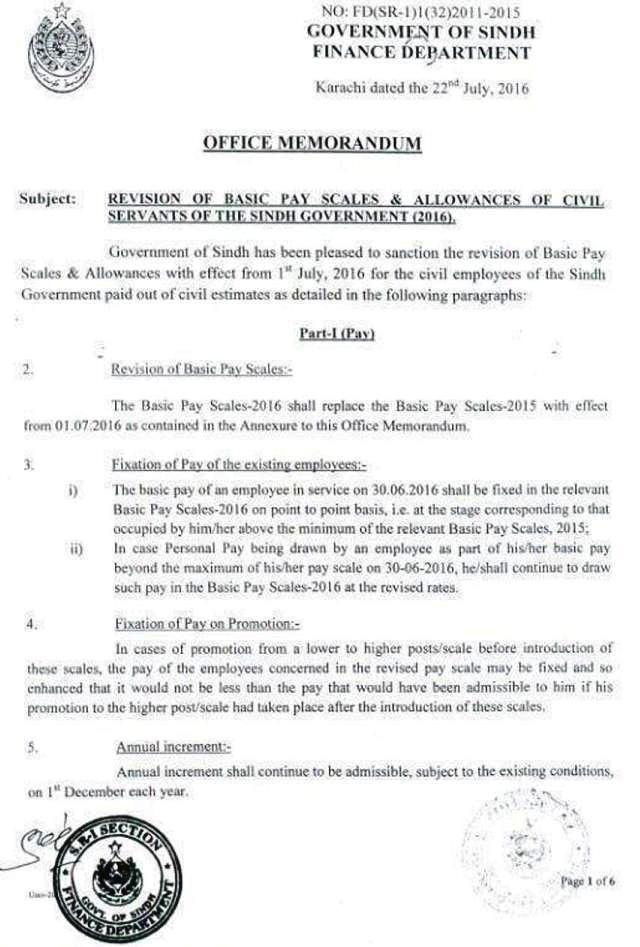Sindh Govt Notification Revised Pay Scales and Allowances 2016 a