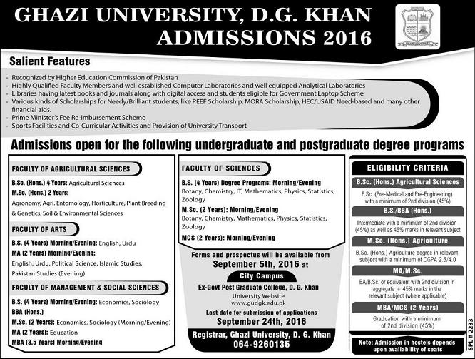 Admission Notice in Ghazi Univesity D G Khan for 2016