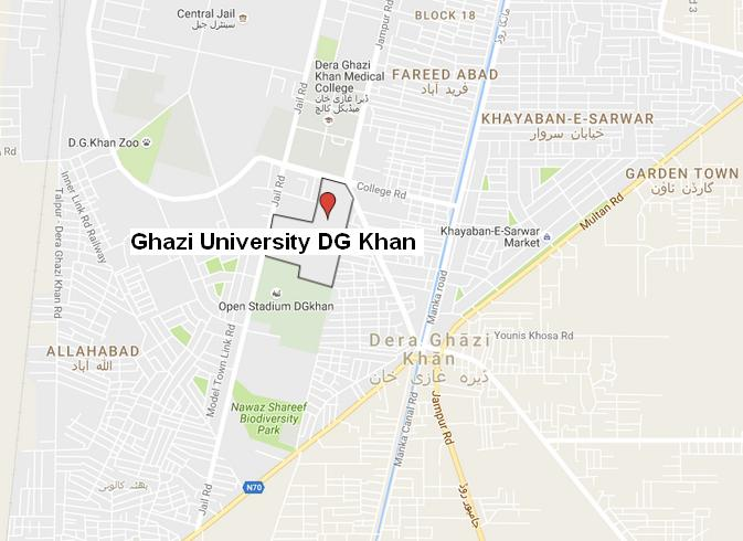 Ghazi University DG Khan - Location Map Near Pull Dot