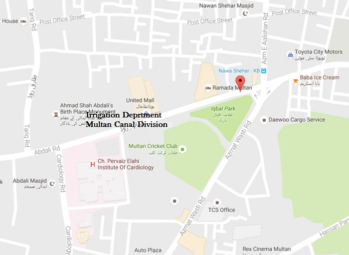 Irrigation Deprtment Multan Canal Division MIC Abdali Road - Location Map