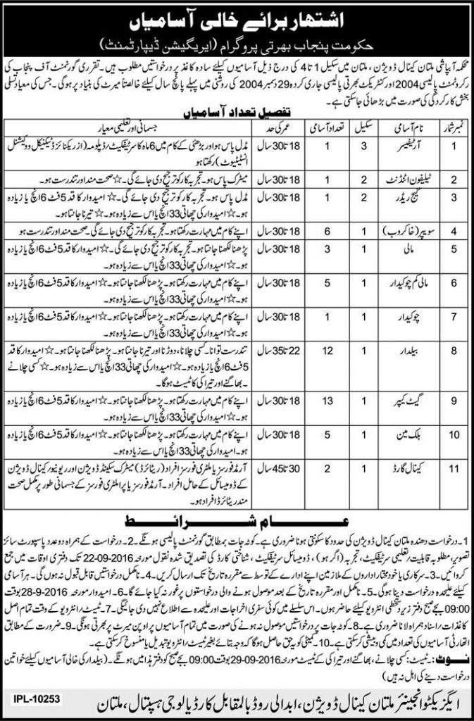 Jobs in Punjab Irrigation Department Multan Opposite Cardioligy Institute