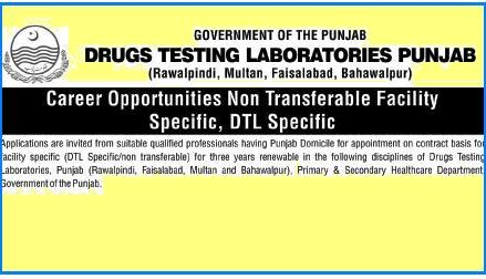 Jobs in Drugs Testing Laboratories Punjab – Rawalpindi, Bahawalpur, Multan and Faisalabad
