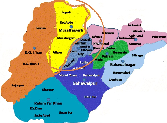 Muzaffargarh District - Location map Near Multan and DG Khan Districts