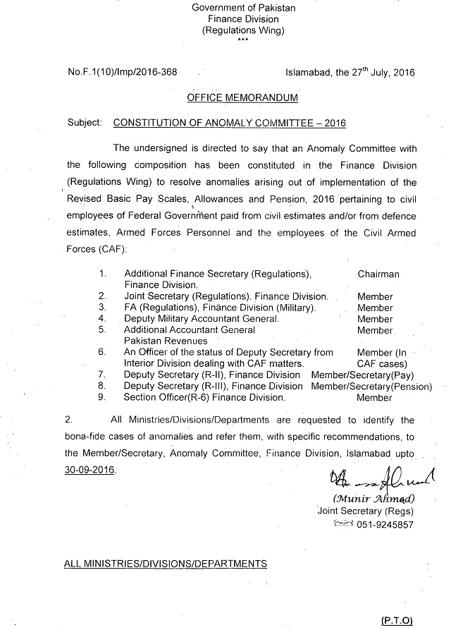 Notification of Constitution of Anomaly Committee for Pay Scales 2016 a