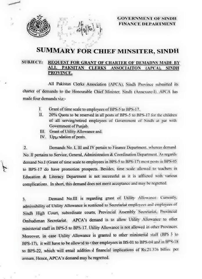 Sindh Clerical Staff Up-gradation Summary of Finance Dept 1