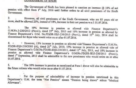 Sindh Govt Increased Pension of The Pensioners – Notification Issued on 4-8-2016