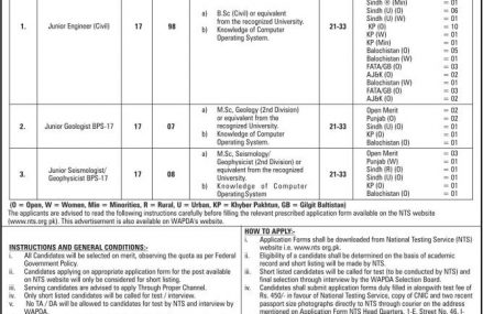WAPDA Announced 98 Vacancies of Junior Engineer (Civil)