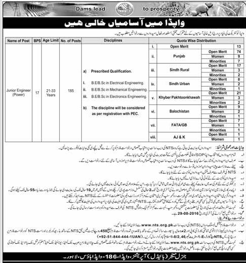 WAPDA Jobs for Junior Engineers (Power) - Apply Via NTS