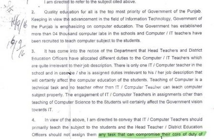 Irrelevant Assignment Assigned To Computer IT Teachers – Letter Issued By School Education Department Dated 8 September 2016