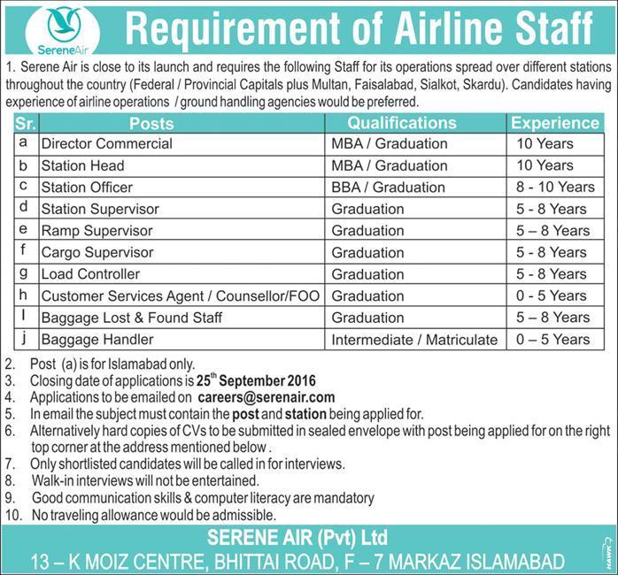 jobs-in-serene-air-pvt-ltd