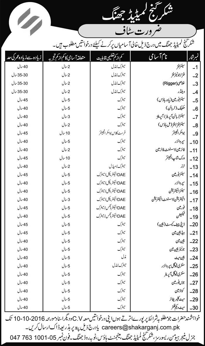 jobs-in-shakar-ganj-sugur-mills-limited-toba-road-jhang