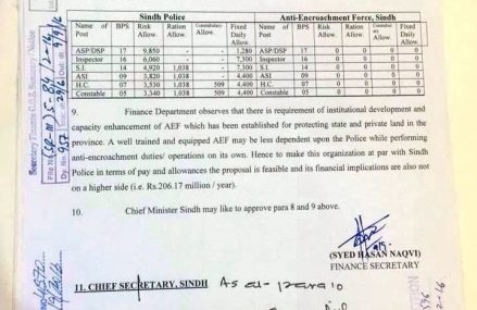 Summary of Equalizing Pay Scales of Anti-Encroachment Force with Sindh Police Pay Scales and Allowances