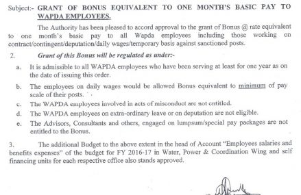 WAPDA Eid ul Azha Bonus Notification 2016 for its Employees Dated 3-9-2016