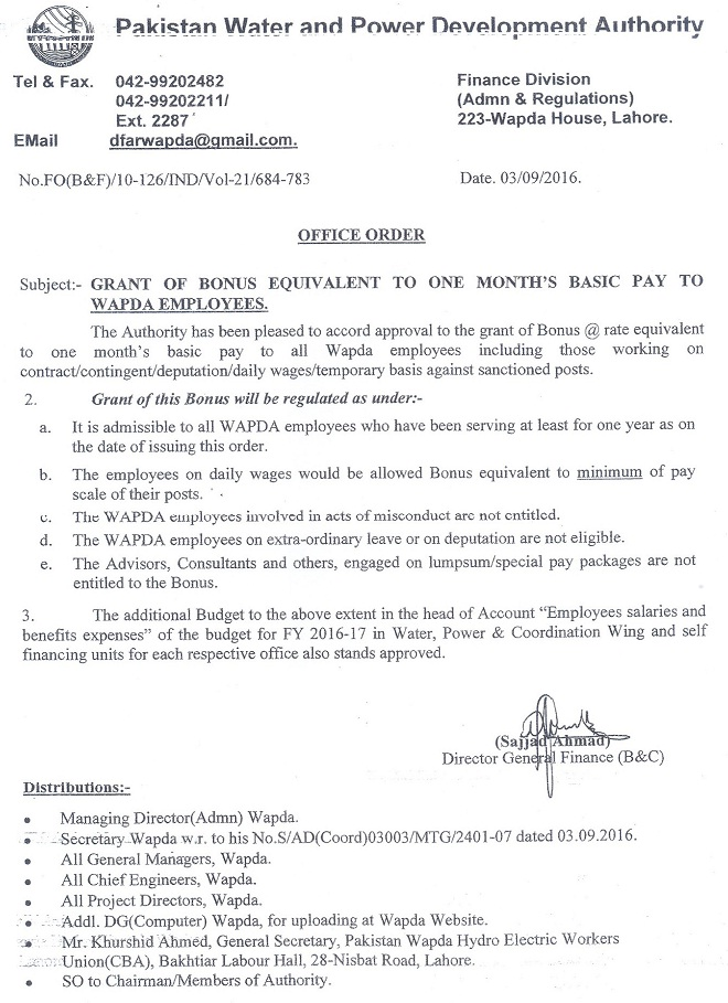 WAPDA Eid ul Azha Bonus Notification 2016 Issued on 3rd September 2016