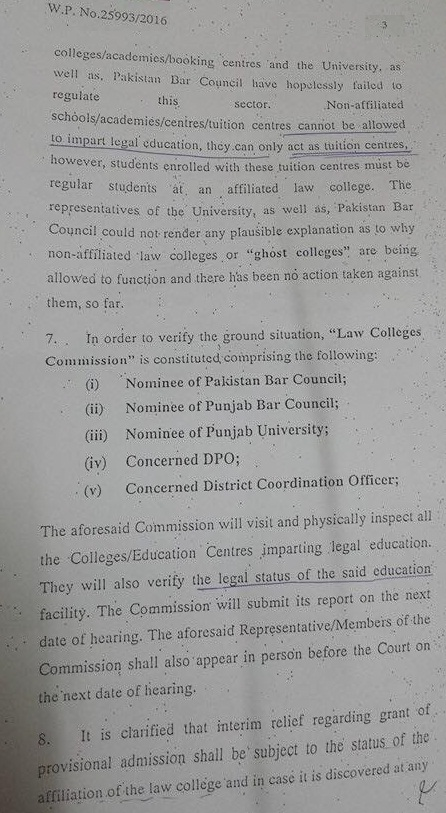 LLB Degree Program Case Lahore High Court Orders Dated 19-09-2016 (Page 3/4)