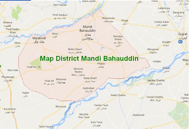 Map District Mandi Bahauddin, Phalia, Malikwal