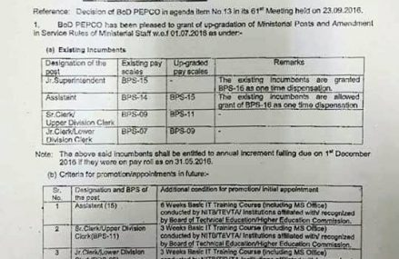 PEPCO Notify Pay Scales Up-gradation of Clerical/Ministerial Staff Dated 05-10-2016