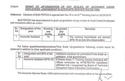 PEPCO Up-gradation Notification of Accounts Cadre Employees Dated 10-10-2016