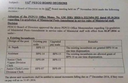 PESCO Notify Staff's Scale Upgradation