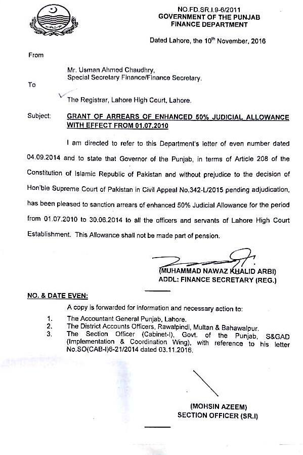 Punjab Finance Dept Notification - Grant of Arrears of Enhanced 50 Percent Judicial Allowance w.e.f 01-07-2010