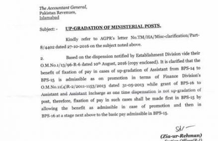 Clarification in Upgradation of Ministerial Posts dated 28 November 2016
