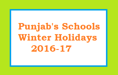 Winter Holidays Announced in Punjab Schools (24-31 Dec 2016)