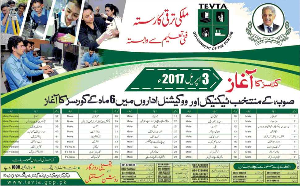TEVTA Free 6 Months Courses - Session April-September 2017