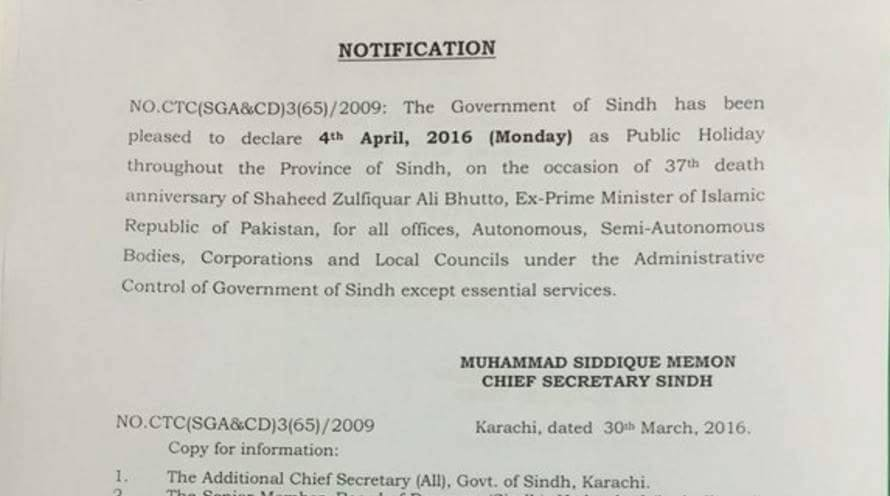 Sindh Government Last Year Zulfiqar Ali Bhutto Death Anniversary Holiday 2016