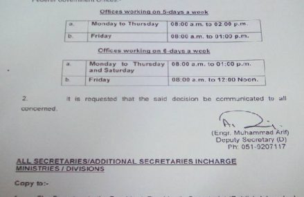 Ramazan Office Timing Notification – Federal & Punjab Govt Departments Year 1438 AH / 2017 AD