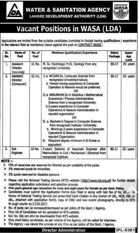WASA Lahore Jobs of Sub Engineers and Assistant Director (Computer)