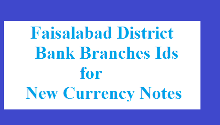 Faisalabad District Bank Branches Code and Id for Fresh Currency Notes 2017