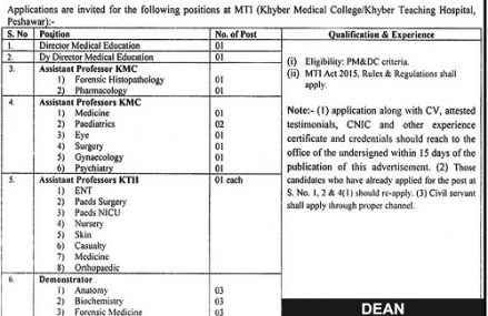 Jobs/Vacancy in Khyber Medical College Peshawar