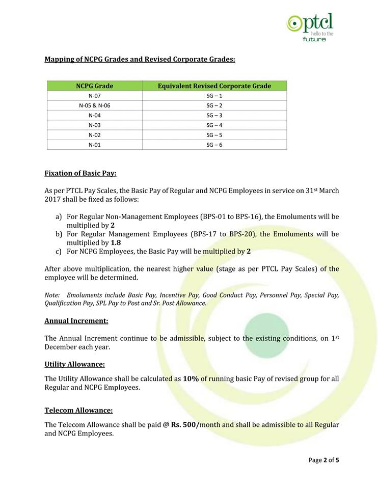 PTCL Introduced Company Pay Scales for its Regular and NCPG