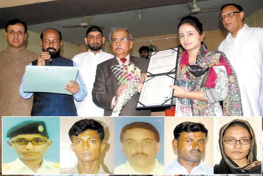 BISE Hyderabad Chairman Board Muhammad Memon Giving Certificate to Girl topper Student - Pics of Top Position Holders in Science and general groups