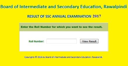 BISE Rawalpindi (RWP) Board Matric/SSC/Class-X Result 2017 Announced
