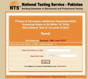 DEO NTS Test Result - Recruitment Test Held on 18 June 2017 for Punjab Health Department DHQs and THQs