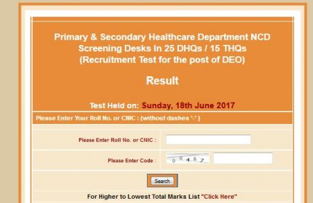 NTS Test Result DEO – Punjab Primary and Secondary Healthcare Department NCD Screening Desks