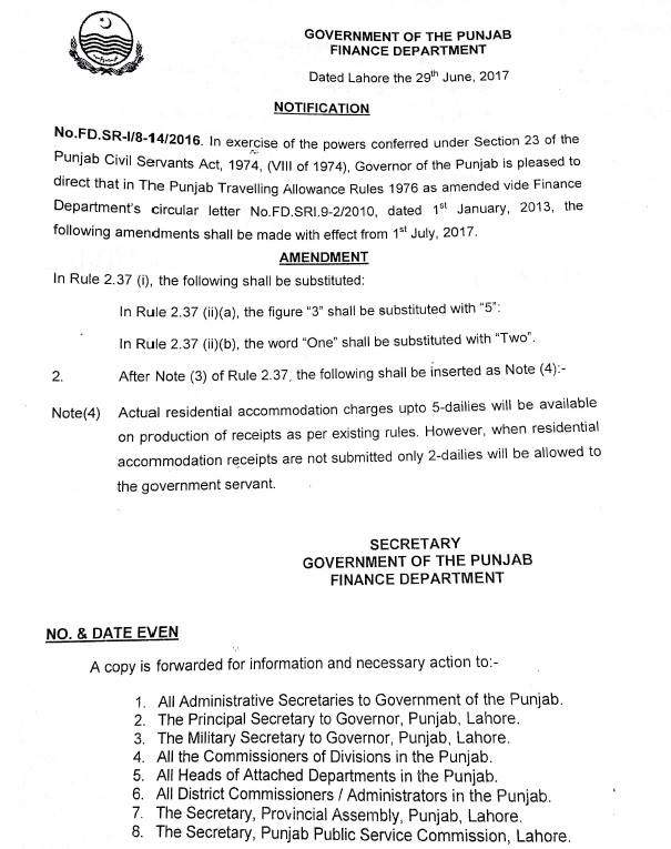 Finance Department Punjab issued notification regarding Traveling Allowance Rules Amendment 2017