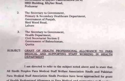 Health Professional Allowance Notification to Sindh Para-Medical and Supporting Staff Employees