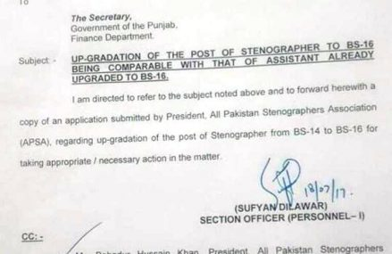 Stenographer Posts Up-gradation in Punjab – S&GAD Letter to Secretary Finance Department