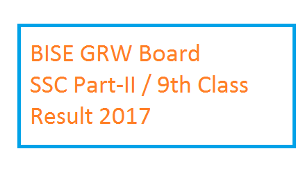 BISE Gujranwala Board 9th Class Result 2017 – SSC Part-I Position Holders
