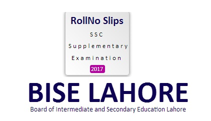 SSC Roll No Slip Supply Exam 2017 - BISE Lahore Board