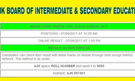 AJKBISE Mirpur Board HSSC-II/12th Class/FA/FSC Result 2017 Online – Position Holders