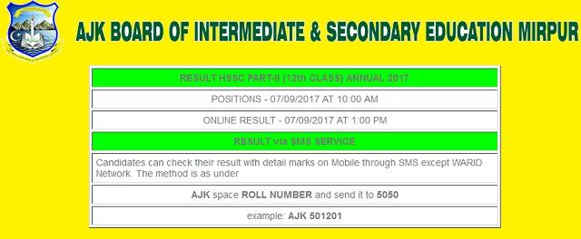 AJK Board HSSC-II Result 2017 Online - BISE Mirpur FA FSc Toppers