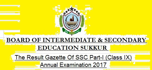BISE Sukkur Board Annul Result SSC-I Class IX 2017 Online