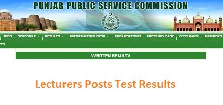 PPSC Announced Test Results of Lecturers Psychology, Physics and Arabic (Males/Females)