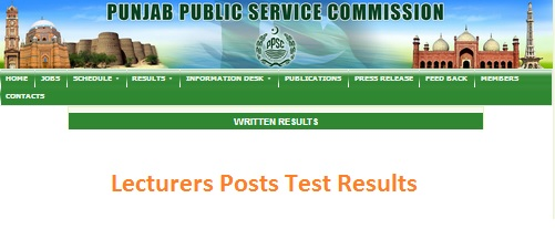 Lecturers Test Result of PPSC Punjab Colleges 2017