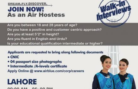 Air Hostess Jobs in AirBlue Flights Company – Walkin Interviews in Lahore